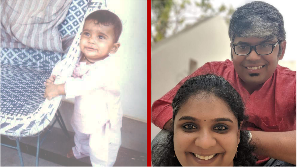 Rakesh Kamal during his childhood years and on the right, seen with his partner
