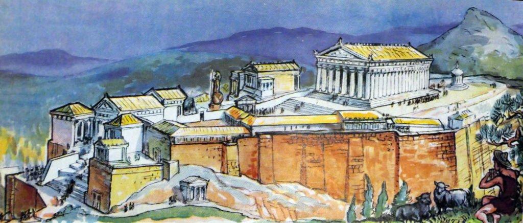 Ilustración de Atenas en el siglo V de enciclopedia infantil