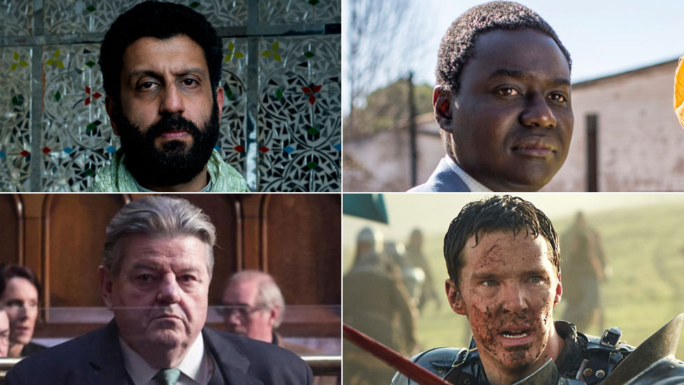 Clockwise from top left: Adeel Akhtar in Murdered By My Father; Babou Ceesay in Damilola, Our Loved Boy; Benedict Cumberbatch in The Hollow Crown; Robbie Coltrane in National Treasure