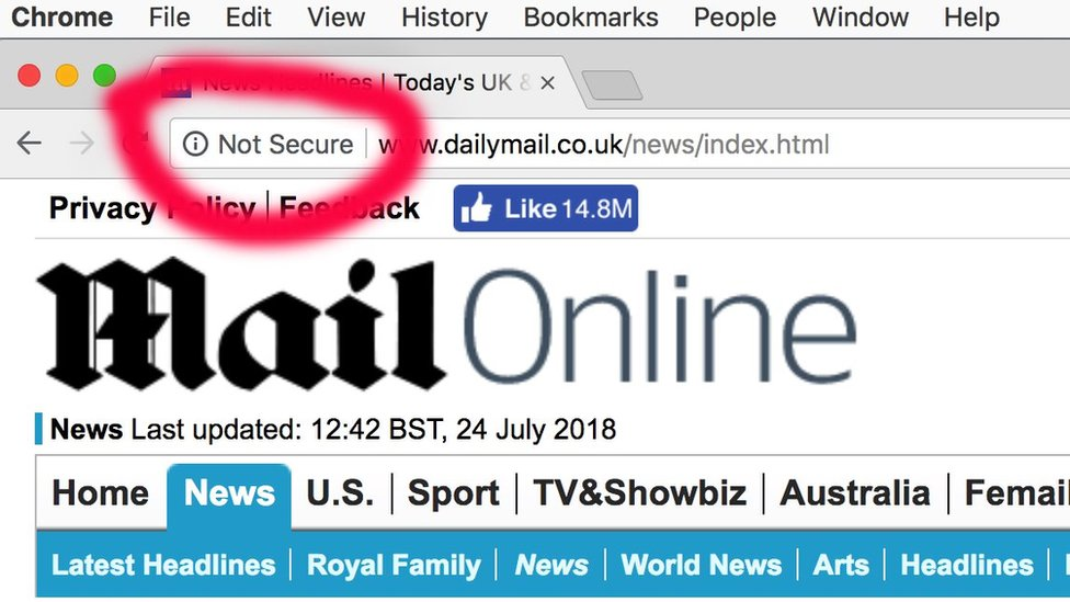Chrome browser flags Daily Mail and other sites as 'not ...
