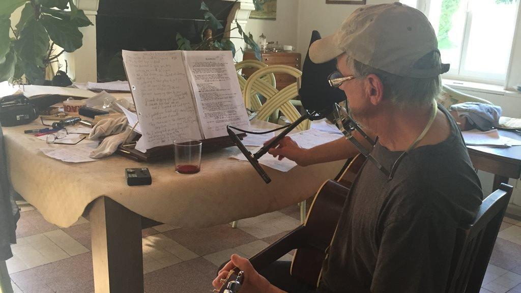 Daniel Antopolsky recording his second album at home in 2016