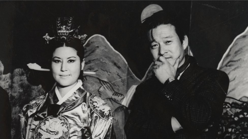 """Screenshot from """"North Korean Kidnap - The Lovers and the Despot"""" showing Shin and Choi"""