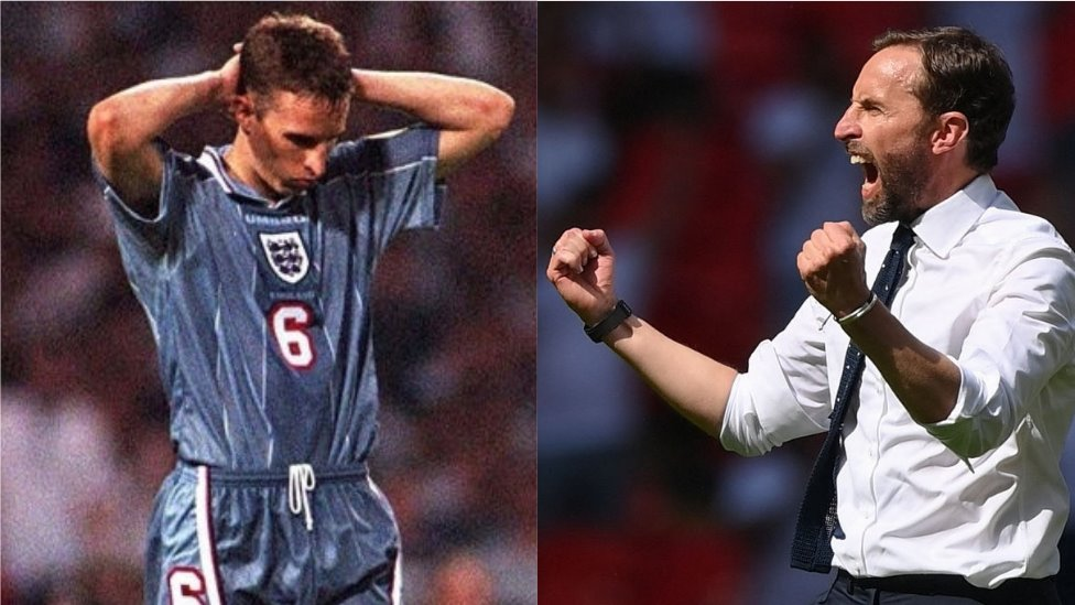 Photo collage showing Southgate as a player and a manager