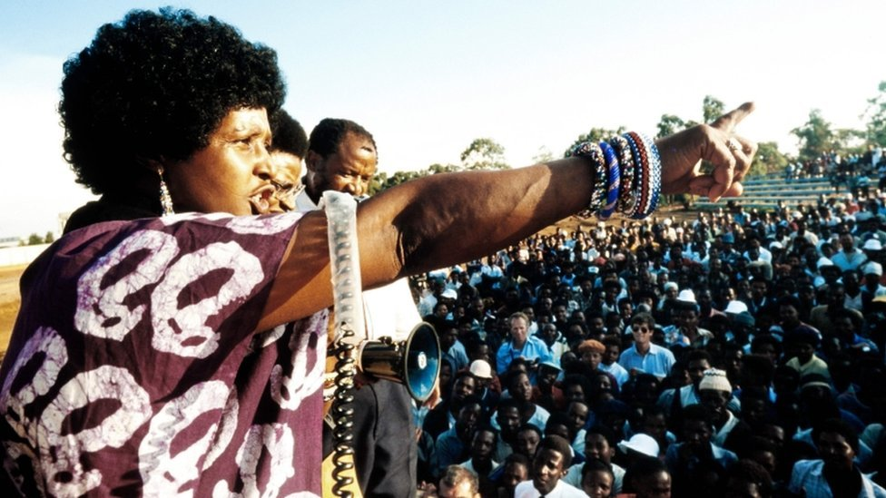 A picture taken on April 13, 1986 shows Winnie Madikizela-Mandela, then-wife of South African president Nelson Mandela, addressing a meeting in Kagiso township.
