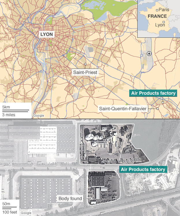 Location of the attack in Lyon, France