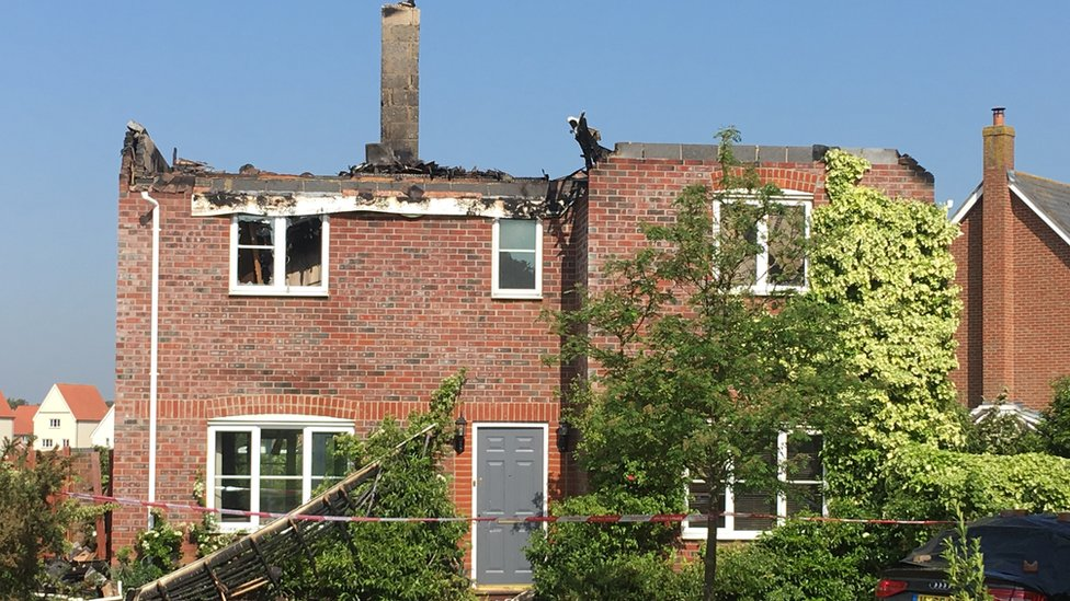 Stanway house roof destroyed by lightning