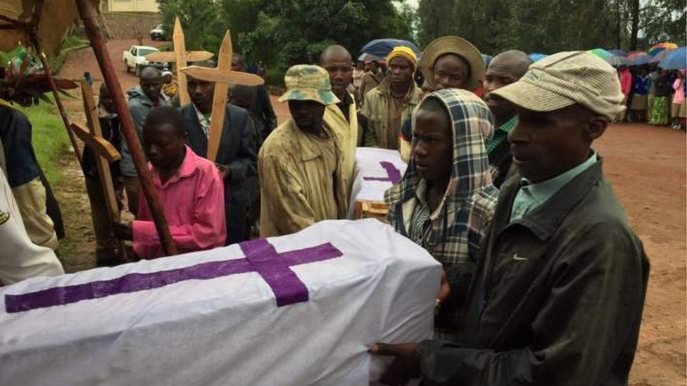 Funeral ceremony for one the victims of landslides in Rwanda