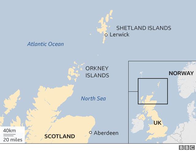 Map showing the Shetland Isles