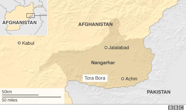 Map showing location of Nangarhar, Jalalabad, Achin and Kabul