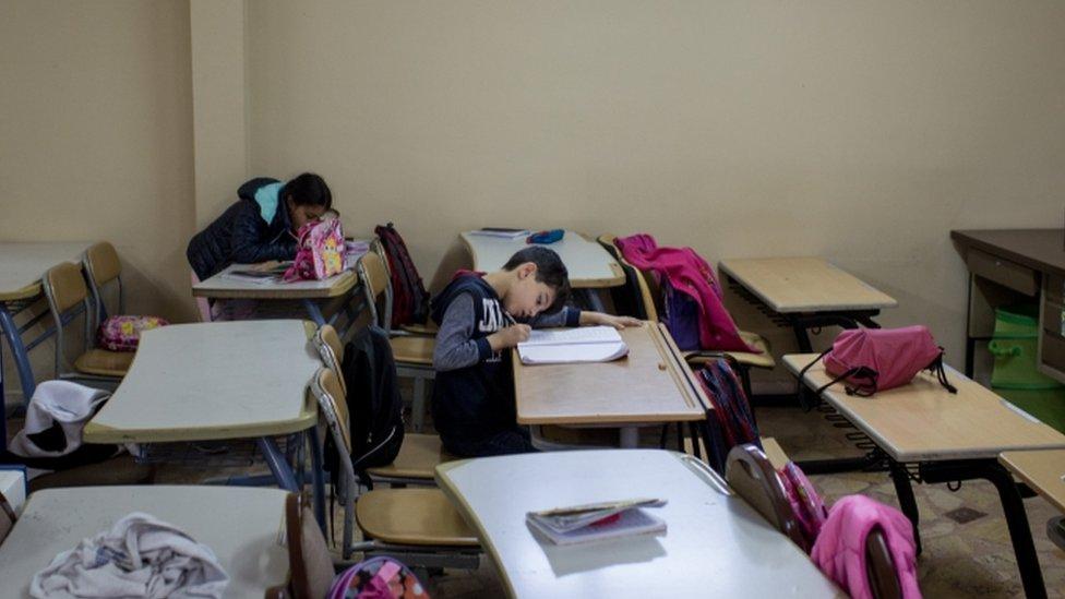 Migrant children at a school in Turkey