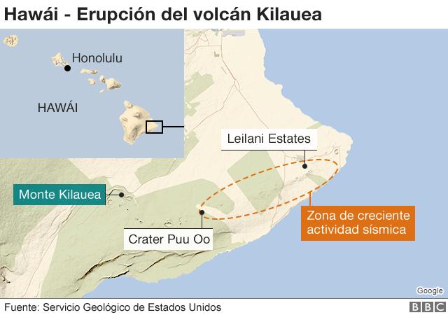 Mapa volcán Hawái