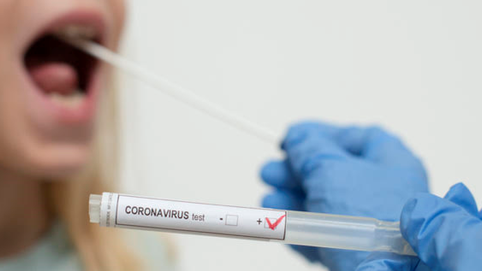 Profissional de saúde segura uma haste flexível e um tubo de teste de covid-19