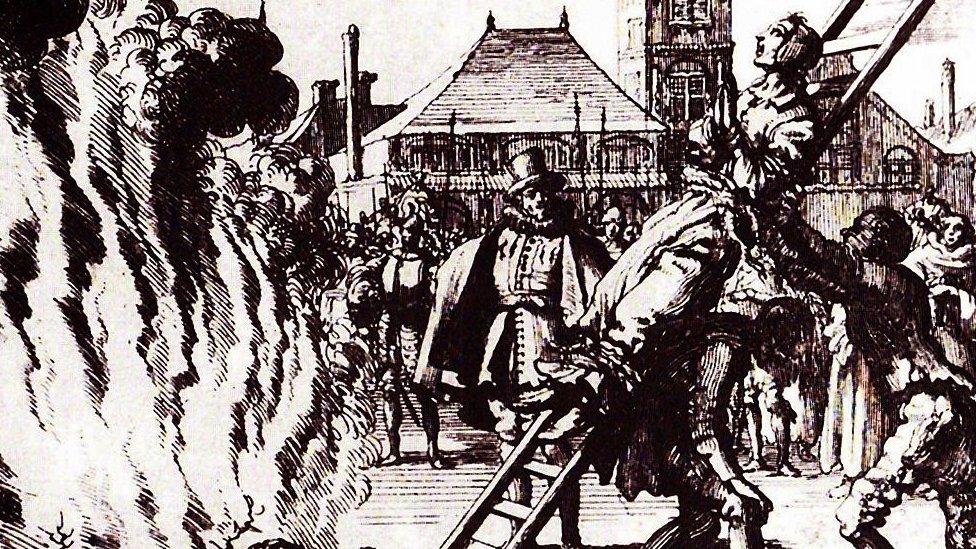Ilustración de una quema de brujas en Ámsterdam