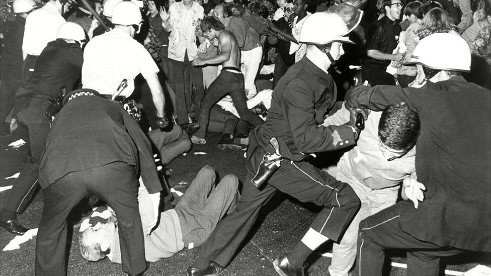 Police moved against anti-Vietnam War protesters during the Democratic National Convention