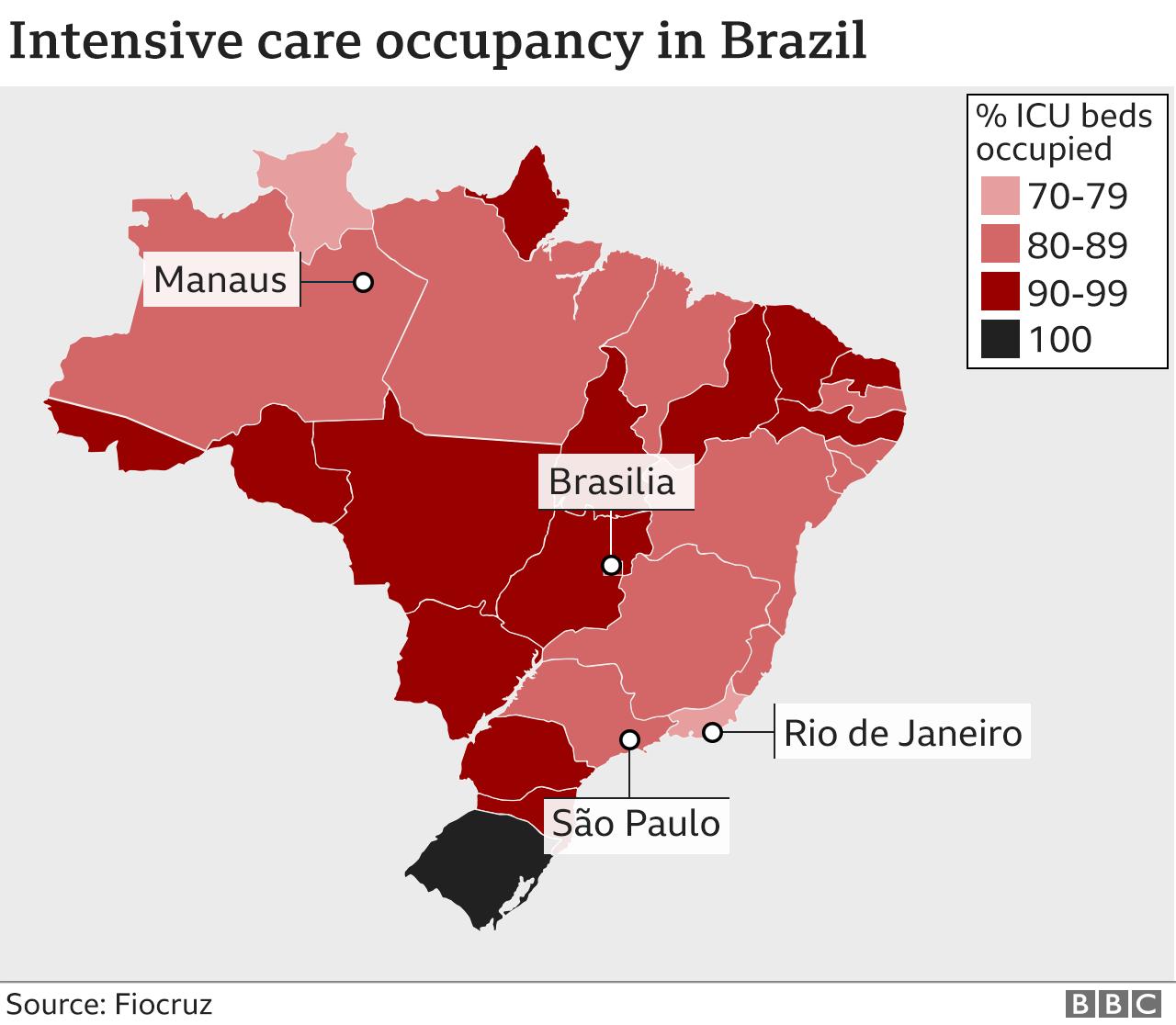 Map showing ICU occupancy across Brazil