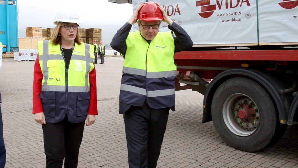 Clare Guinness CEO of Warrenpoint Harbour with Michael Gove on 9 August 2019