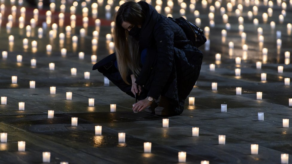 Activists lit almost 5,000 candles to commemorate the people who died with coronavirus in Switzerland, on the Bundesplatz, front of the Federal Palace, in Bern, Switzerland, 06 December 2020
