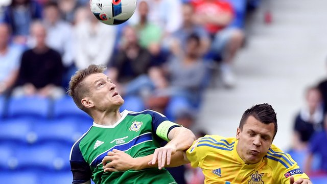 Steven Davis beats Ukraine's Yevhen Konoplyanka
