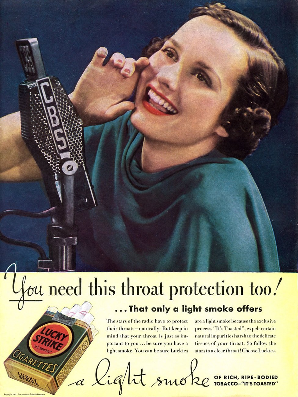 A Lucky Strike ad from 1937 publicising the healthy and protective qualities of tobacco