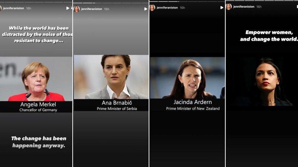angela merkel, ana brnabić, džasinda ardern i Aleksandrija okazio kortez na instagramu Dženifer ENiston