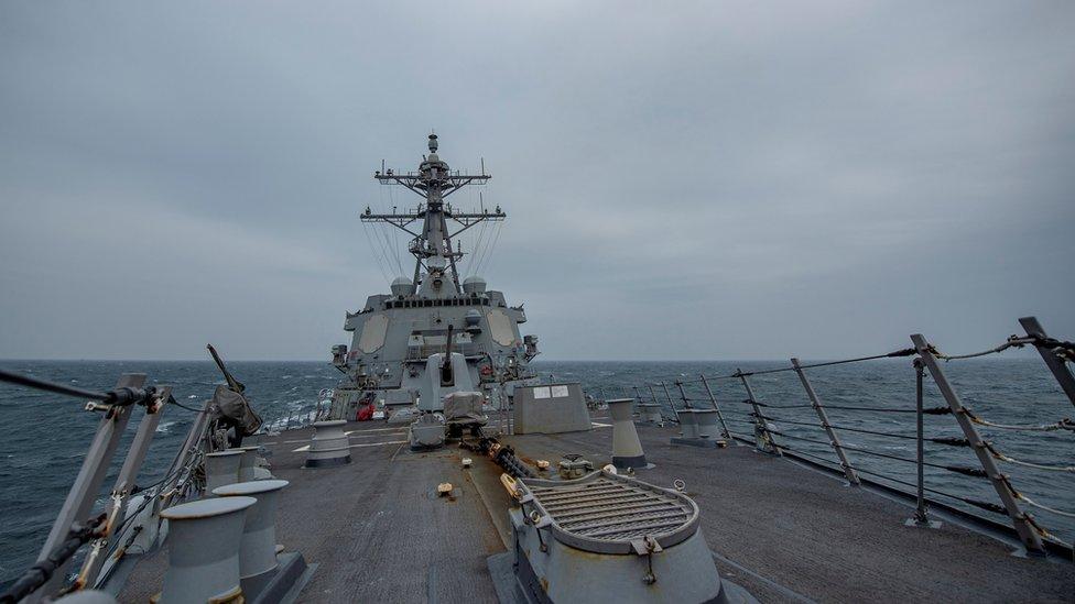 Kapal angkatan laut AS di Selat Taiwan