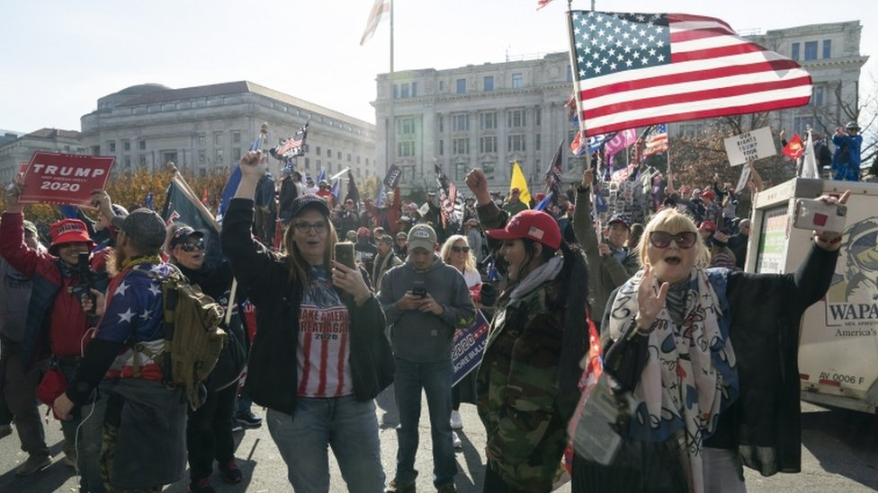 Supporters of Donald Trump gather in Washington DC, 14 November