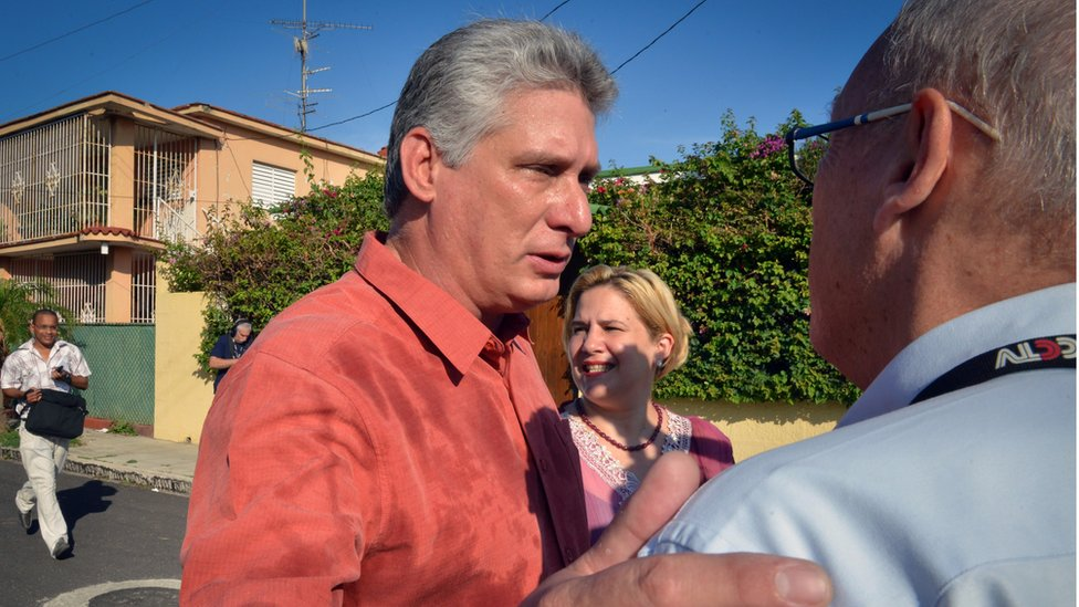 Cuban first vice-president Miguel Diaz-Canel speaks with the press in Nautico neighbourhood in Havana, on April 19, 2015