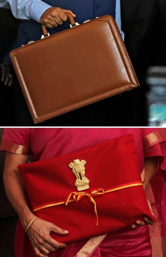 अरुण जेटली की अटैची तस्वीर में ऊपर की तरफ, निर्मला सीतारमण का बहीखाता तस्वीर में नीचे की तरफ