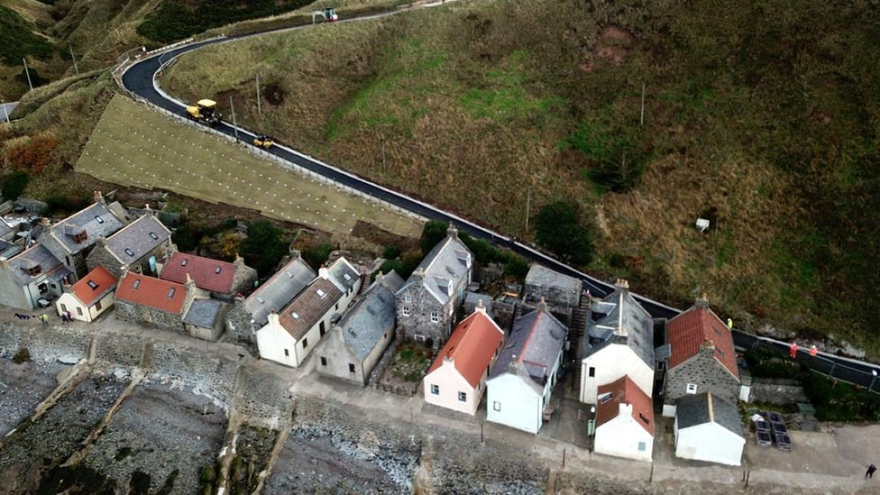 Landslip Crovie road reopens to traffic after a year