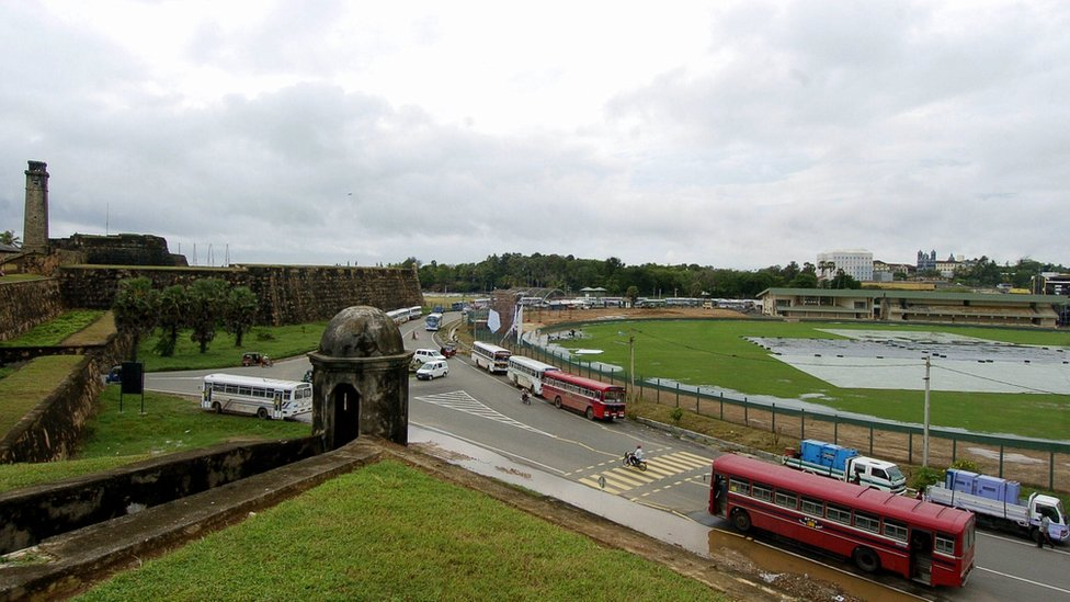 A view from the ramparts of the Dutch colonial era Fort, overlooking Galle International Cricket Stadium in Galle, some 180kms south of Colombo (14 December 2007)