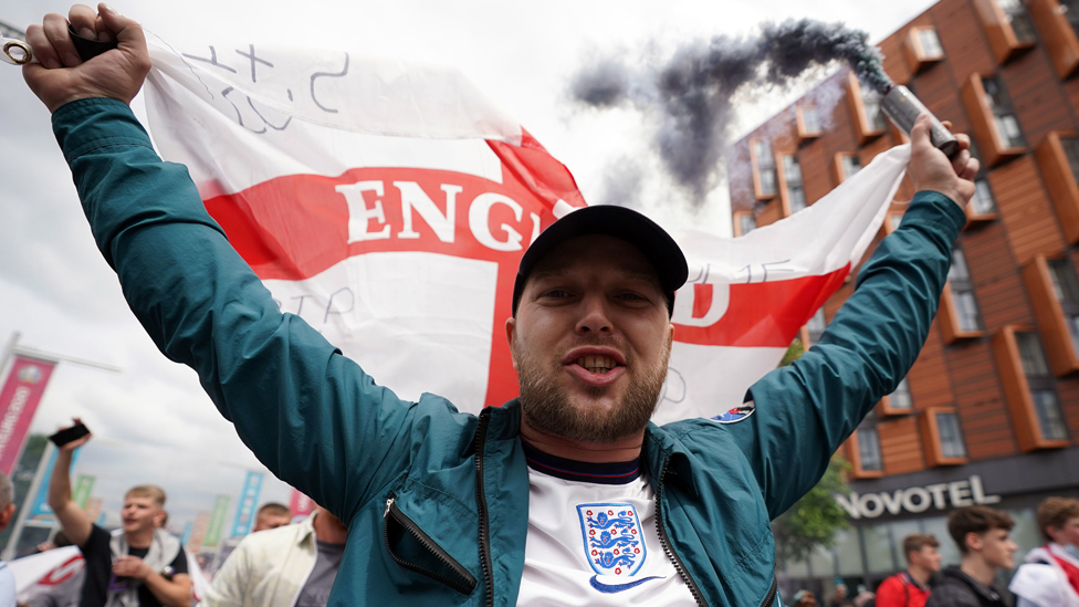 England fans outside the ground ahead of the UEFA Euro 2020 Final at Wembley Stadium, London, on 11 July 2021