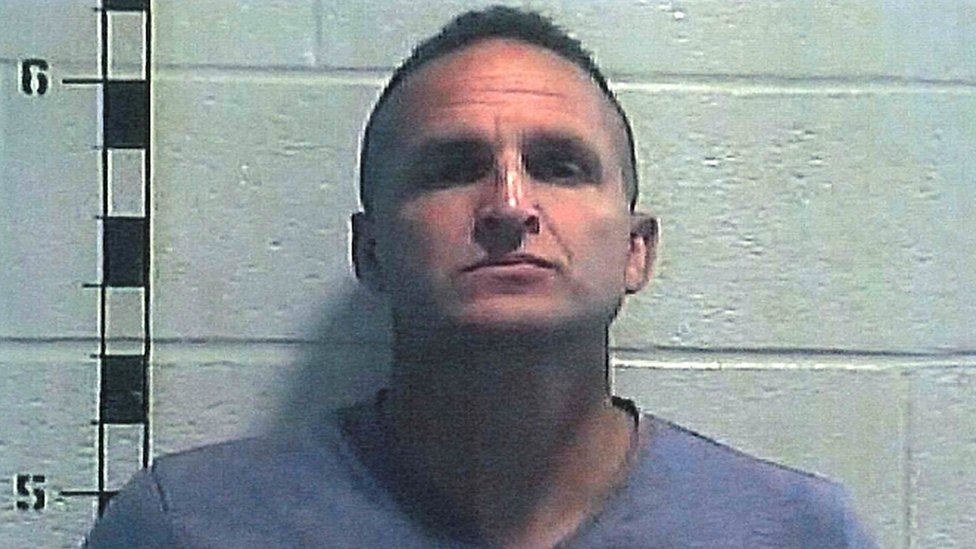 Former Louisville police detective Brett Hankison poses for a booking photograph at Shelby County Detention Center in Shelbyville, Kentucky, U.S. September 23, 2020