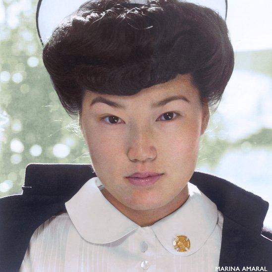 Retrato da enfermeira japonesa Aiko Hamaguchi feito durante a 2ª Guerra Mundial