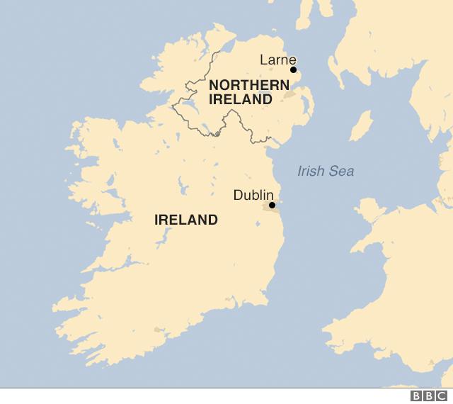 Map showing Irish border