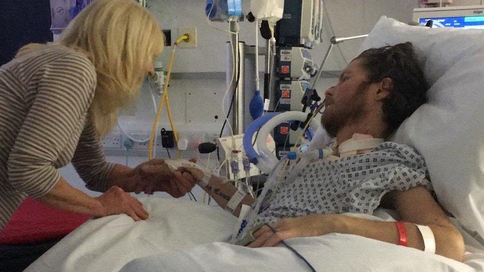 Richard Bluck in hospital