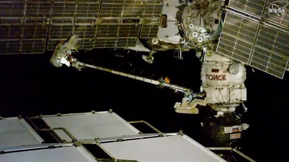 Cosmonauts conduct spacewalk outside the ISS. 11 Dec 2018