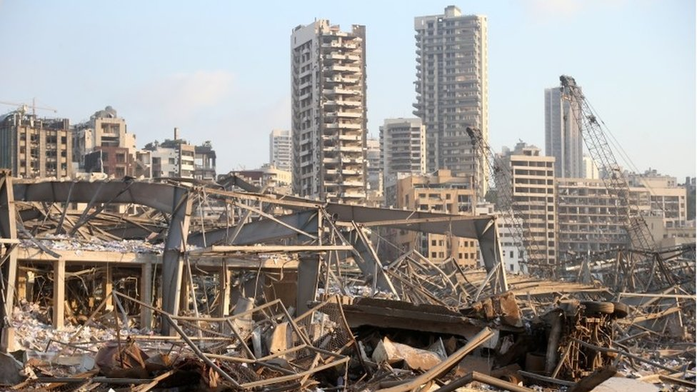 Aftermath of blast in Beirut, 4 August 2020