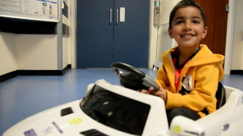 Children in mini Mercedes before surgery in Sandwell
