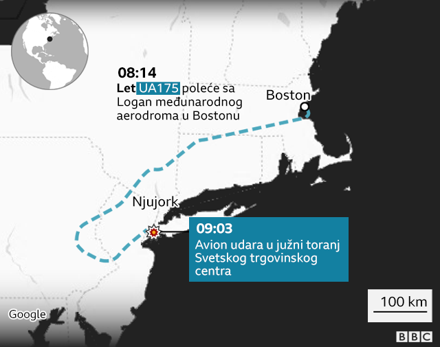 Let UA175 poleće iz Bostona