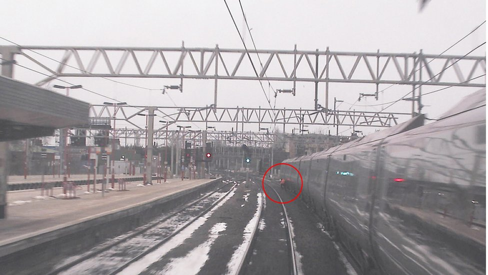 Train driver three seconds from being hit by train