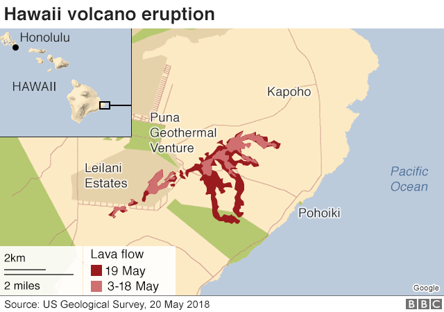 Map of recent eruptions