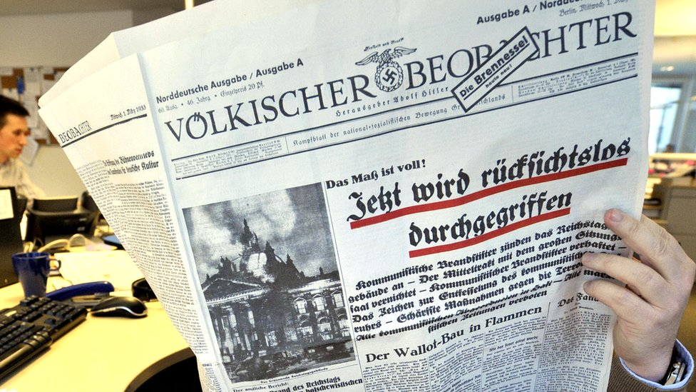 Reprint of Nazi daily Voelkischer Beobachter, Feb 2009 file pic