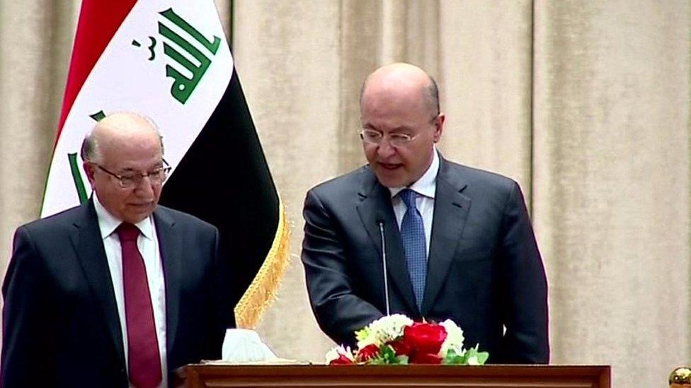 برهم صالح يؤدي اليمين الدستوري بحضور رئيس المحكمة الاتحادية في العراق