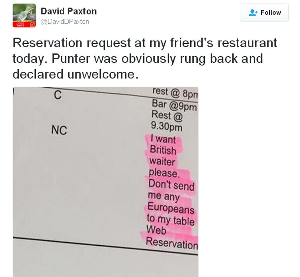 David Paxton restaurant tweet