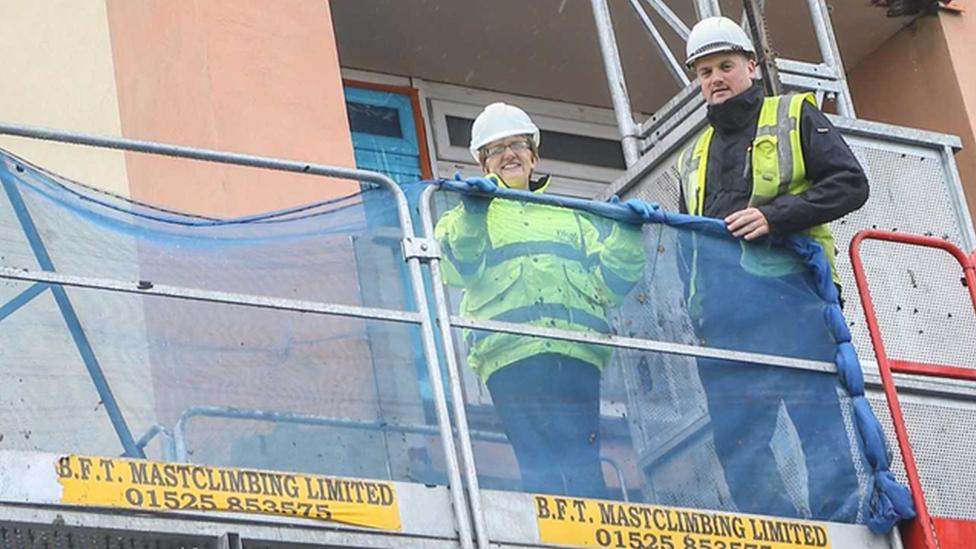 Councillor Judy Hamilton checks on progress at Forth View flats in Kirkcaldy