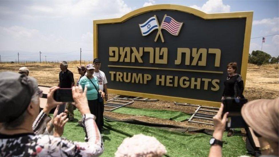 PM Israel mengatakan nama Trump dipakai sebagai bentuk terima kasih dan penghargaan atas keputusan Trump 'mengakui secara resmi kedaulatan Israel atas Dataran Tinggi Golan'.