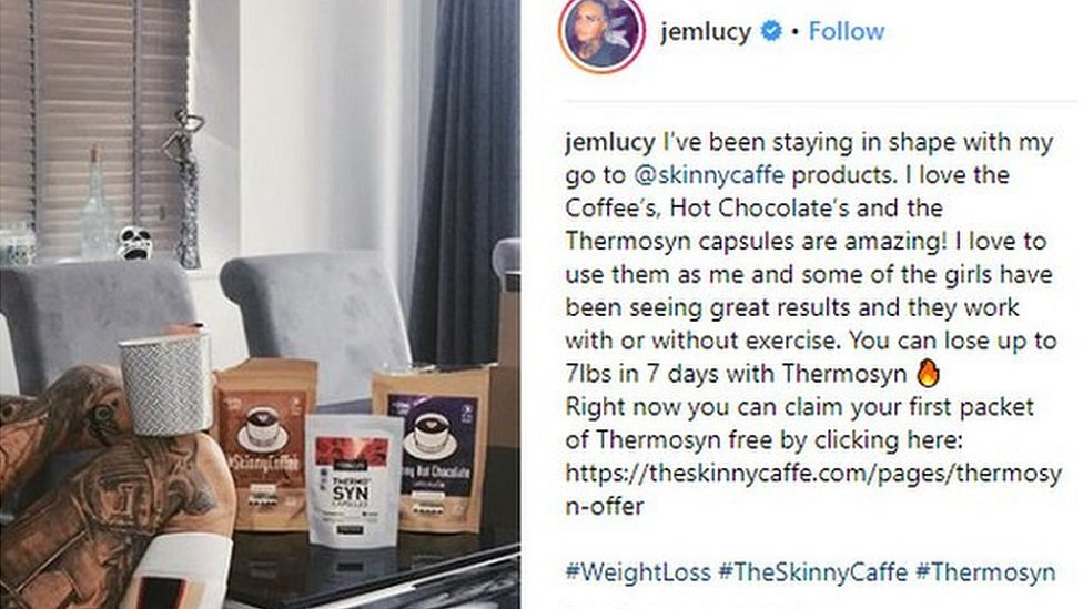 Jemma Luxy posing with weight loss coffee in an Instagram post