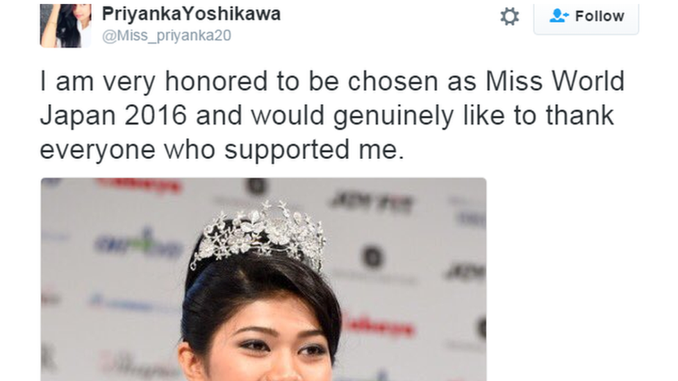 """I am very honoured to be chosen as Miss World Japan 2016 and would genuinely like to thank everyone who supported me"" said Ms Japan"