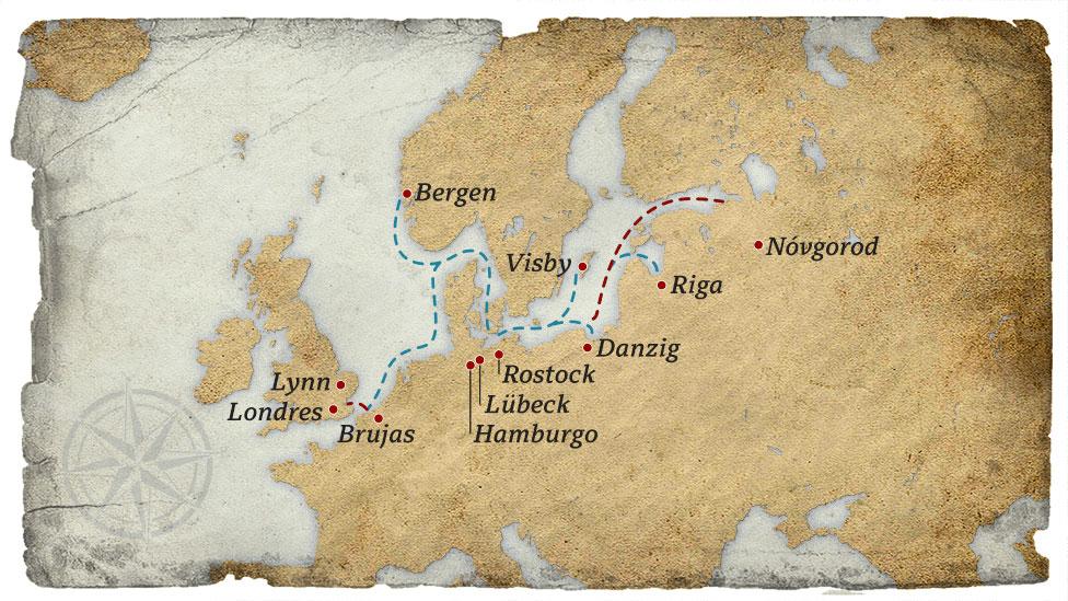 Las principales ciudades por las que transitaba el comercio de la Liga Hanseática.