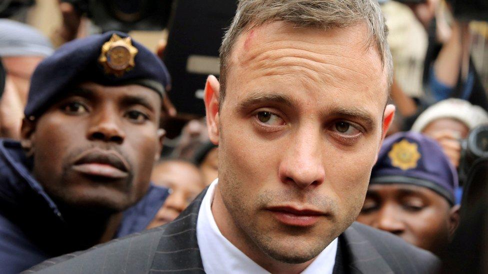 Oscar Pistorius leaves court in 2016